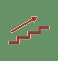 Stair with arrow cordovan icon and mellow vector