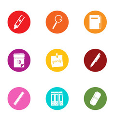 Study time icons set flat style vector