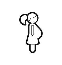 Stylish black and white icon pregnant woman vector