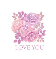 Tender color pink rose bouquet elegant design vector