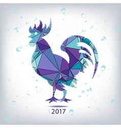 The 2017 new year card with Rooster made of vector image