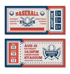 Tickets design template at baseball tournament vector