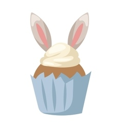 Traditional easter bunny cake white sweet icing vector