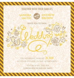 Wedding invitation with hand drawn flowers vector
