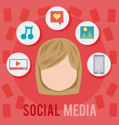 Young woman social media vector