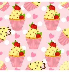 Candy pattern with cupcake and heart vector image