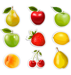 Collection of fruit stickers vector image vector image