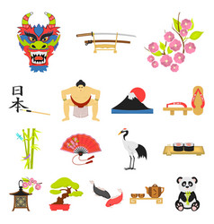 country japan cartoon icons in set collection for vector image vector image