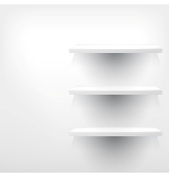 Empty white wooden shelf at the wall vector image