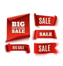 Set of five red realistic sale paper banners vector image vector image
