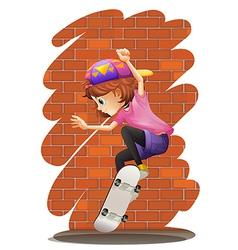 An energetic little girl skateboarding vector image vector image
