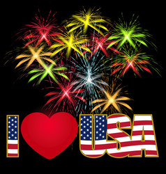 Caption I Love the USA stylized flag colors and vector image