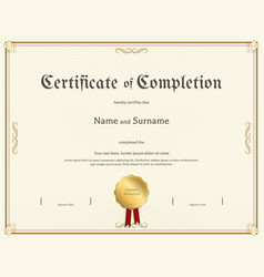 certificate of completion template in vintage vector image vector image