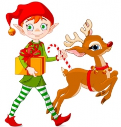 Christmas elf and Rudolph vector image vector image