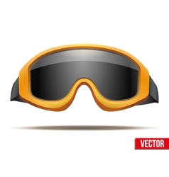 Classic orange snowboard ski goggles with black vector image vector image