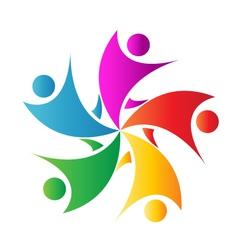 Happy teamwork logo vector image vector image