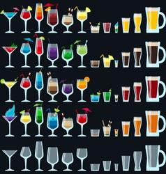 Set of colorful alcohol drinks vector image