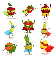 Set of happy superhero fruit vector