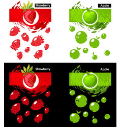 set template icon of fruit strawberry and apple vector image vector image