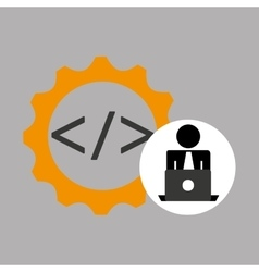 silhouette programmer working laptop coding icon vector image vector image