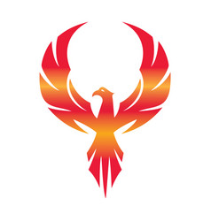 stylized graphic phoenix bird flying with expanded vector image vector image