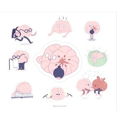 Brain stickers education and stress set vector image vector image