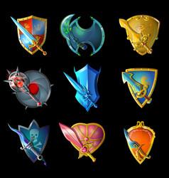 cartoon decorative medieval weapons set vector image vector image