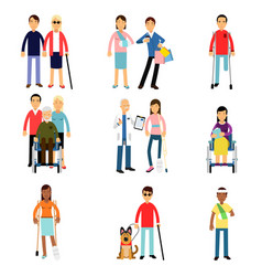 disabled men and women characters getting medical vector image vector image