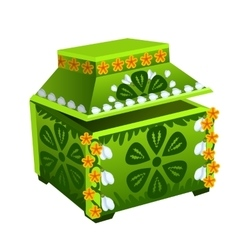 Green treasure chest with floral ornament vector image vector image