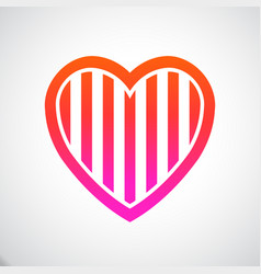 heart stripes vector image vector image