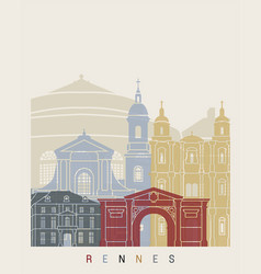 rennes skyline poster vector image