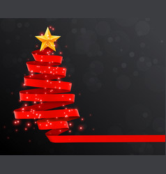 christmas tree made of red ribbon on dark vector image vector image