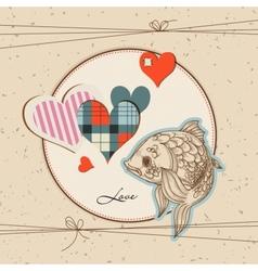 cute fish in love vector image