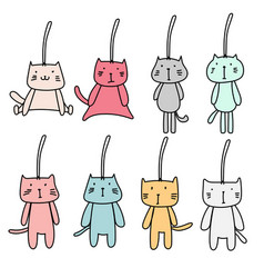 hand drawn set of cute cat keychain vector image vector image
