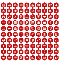 100 web development icons hexagon red vector