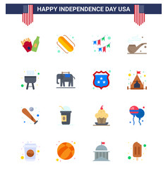 16 flat signs for usa independence day elephent vector