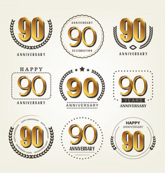 90 years anniversary logo set vector image