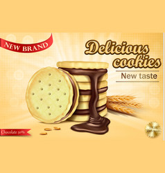 Advertising banner for chocolate sandwich cookies vector
