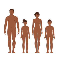 African man woman boy and girl human front side vector