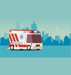 ambulance car on cityscape background isoflat vector image