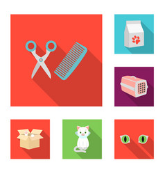An animal cat flat icons in set collection for vector