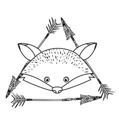Animal drawing style boho icon vector