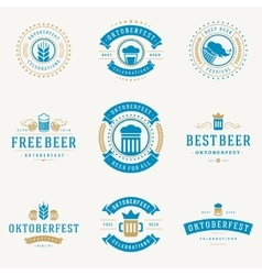 Badges and logos set Beer festival Oktoberfest vector image
