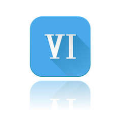 blue icon with vi roman numeral with reflection vector image