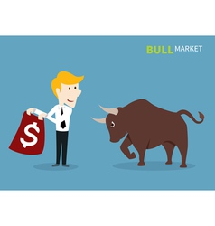 bull treading on the stock market vector image
