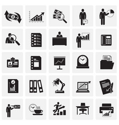 business icons set on squares background for vector image