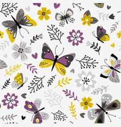 butterflies and sprigs pattern vector image