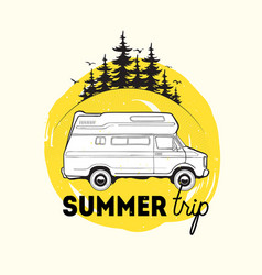 Camper trailer or campervan driving against spruce vector