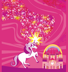 Card with a cute unicorn vector