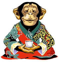 Cartoon chimp in red kimono holding cup tea vector